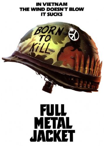 1980's Movie - FULL METAL JACKET - WHITE canvas print - self adhesive poster - photo print